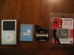 iPod, dead hard drive, ZIF to CF adapter, and 32GB CF card